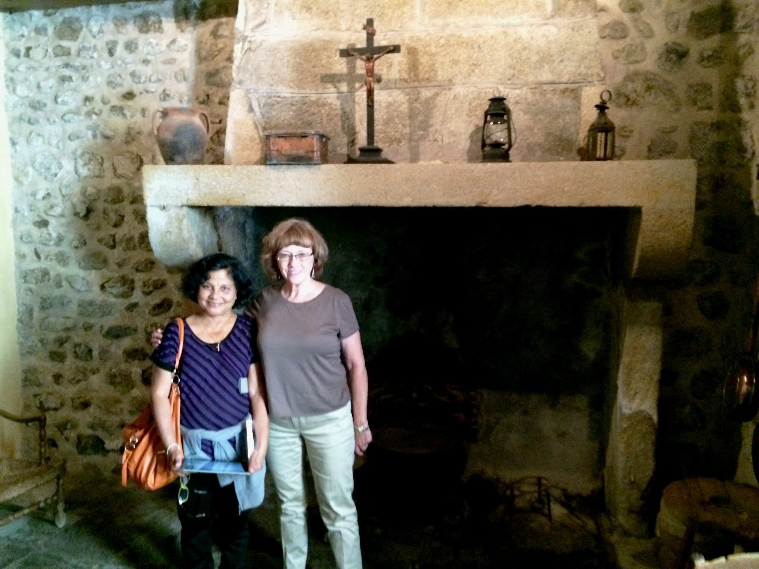 Mary & Sandra in the original stone kitchen